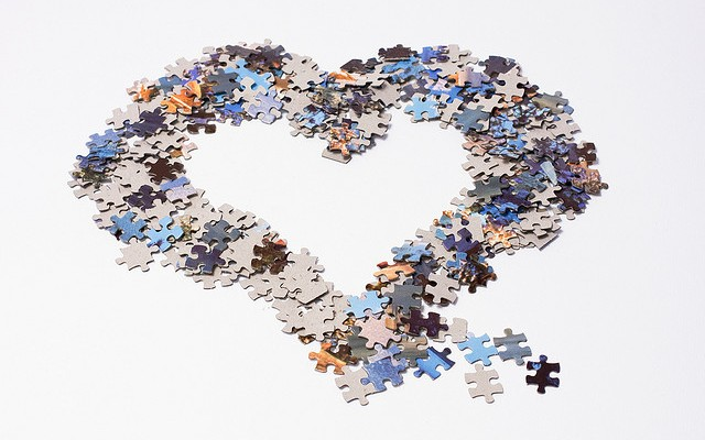heart in jigsaw pices